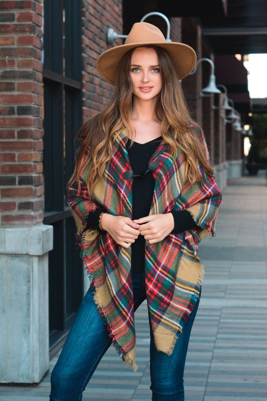 Classic Flannel Poncho With Toggle - Khaki