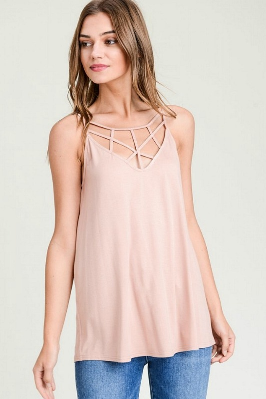 Rose Taupe Strappy V-Neck Tank Top