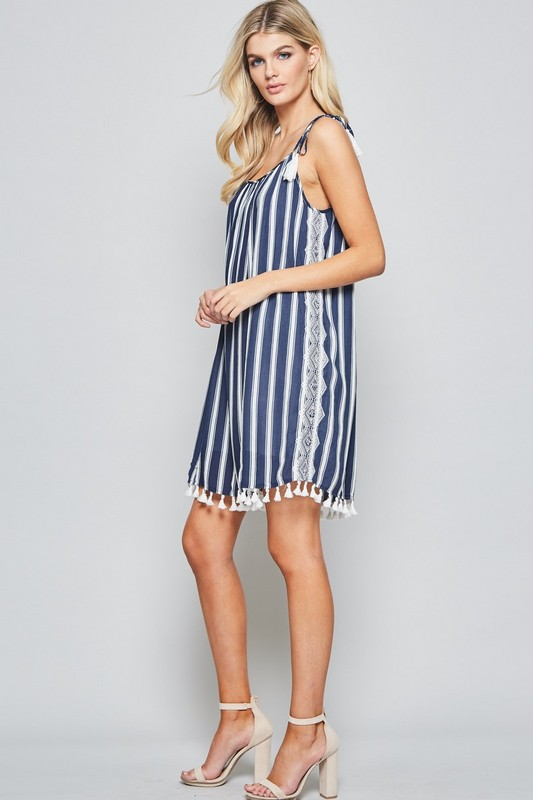 Dazzling Diva Striped Tassel Dress