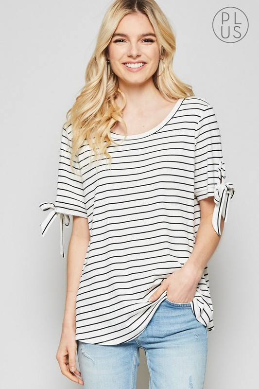 Plus Size Striped Short Sleeve Top