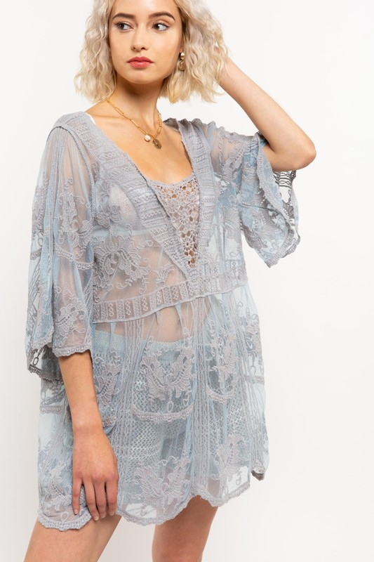 Frilly Flair Dove Grey Lace Top