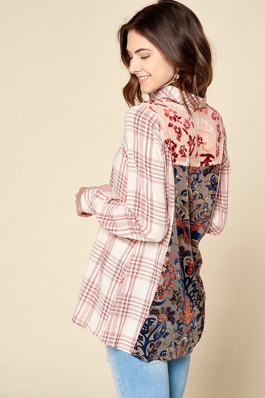 Double Take Plaid and Velvet Shirt - Red  1 Medium and 1 XL left