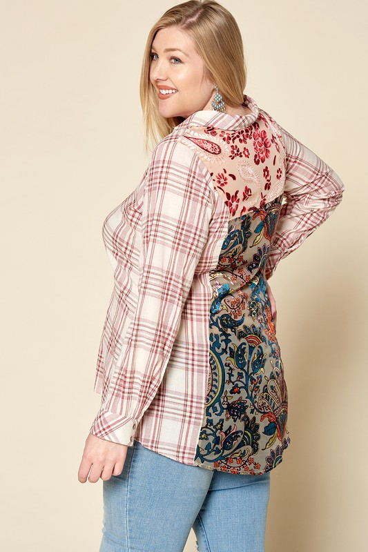 Plus Size Double Take Plaid and Velvet Shirt - Red