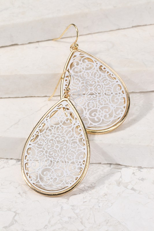 Filigree Tear Drop Earrings - White