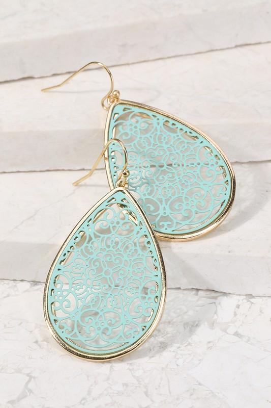 Filigree Tear Drop Earrings - Mint