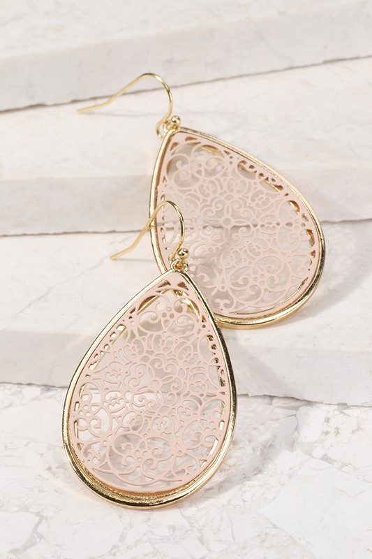 Filigree Tear Drop Earrings - Nude
