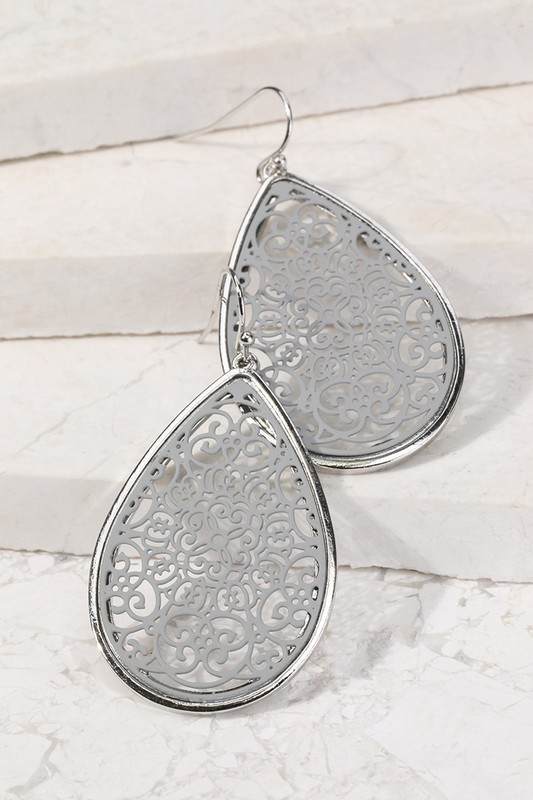 Filigree Tear Drop Earrings - Grey