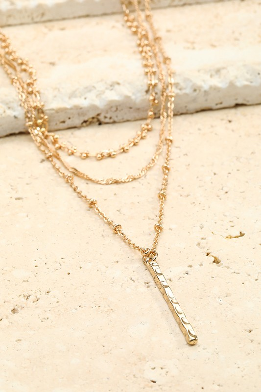 Hammered Metal Bar Necklace - Gold