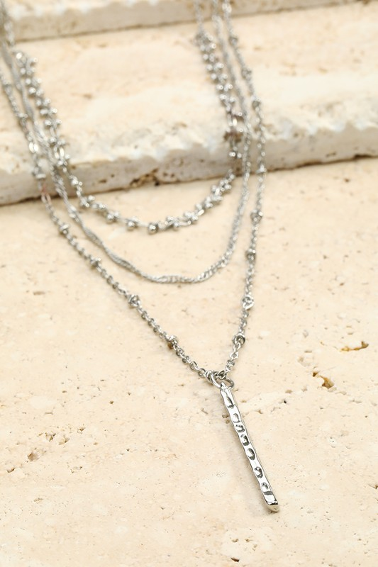 Hammered Metal Bar Necklace - Silver
