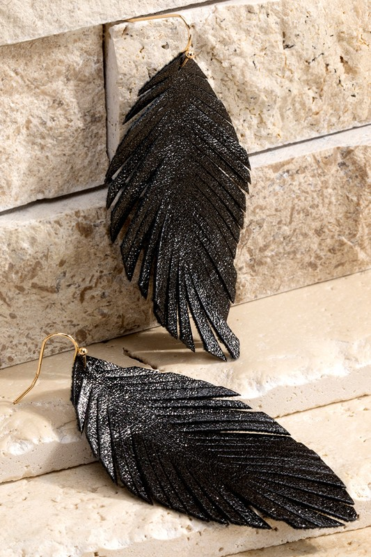 Dazzling Dangles Black Feather Earrings