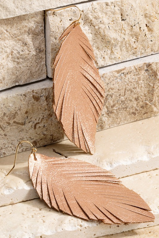 Dazzling Dangles Rose Gold Feather Earrings