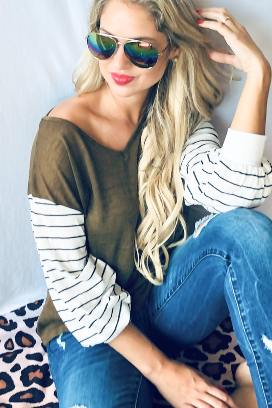Olive Top With Striped Sleeves