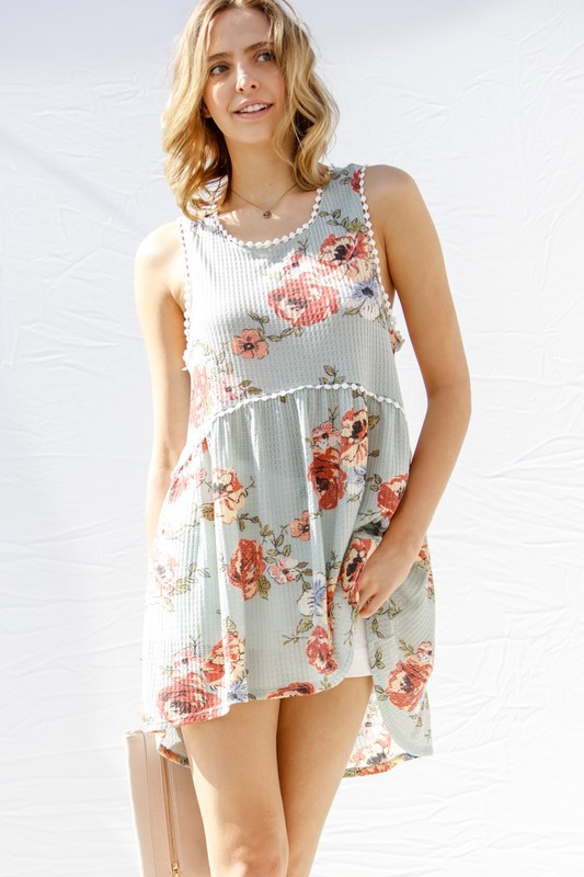 A Story To Tell Waffle Knit Floral Babydoll