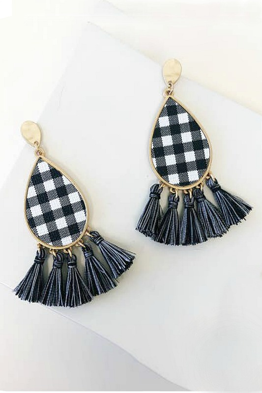 Buffalo Check Tassels - White