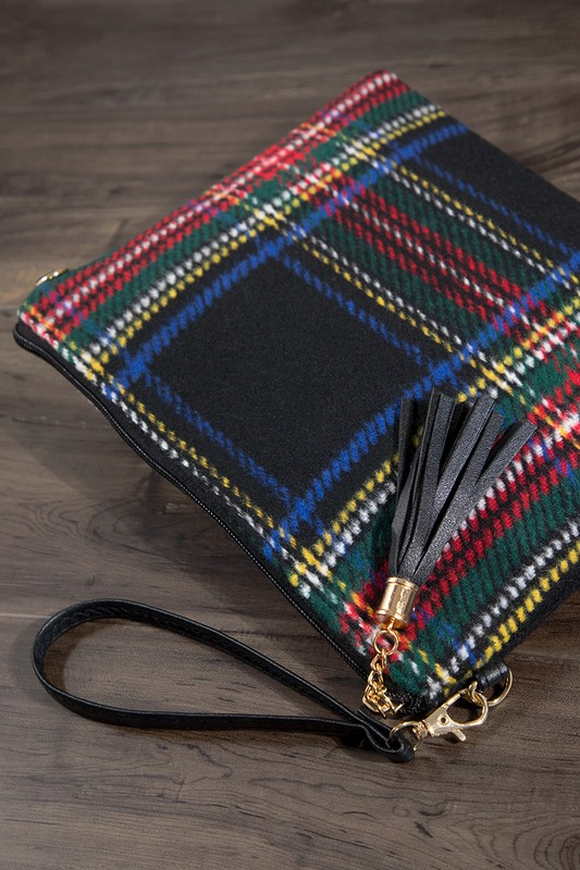 Tartan Plaid Crossbody Bag - Black