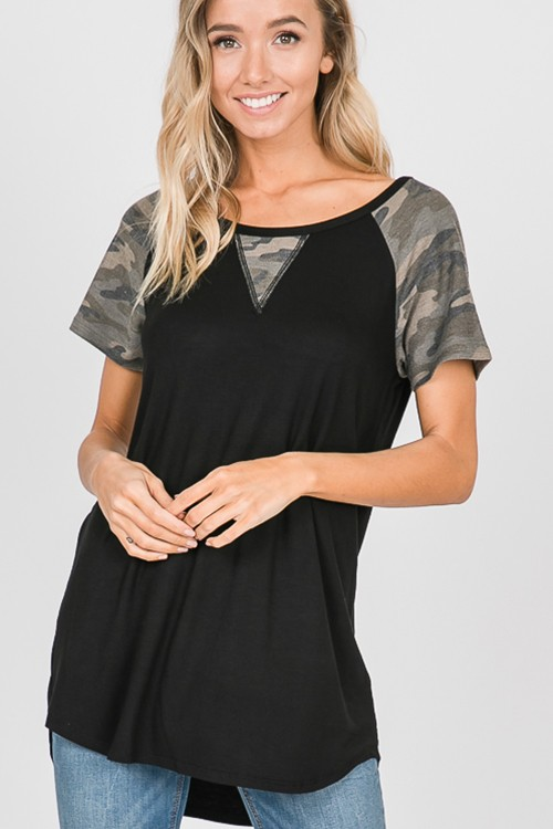 Black Top with Camouflage Contrast