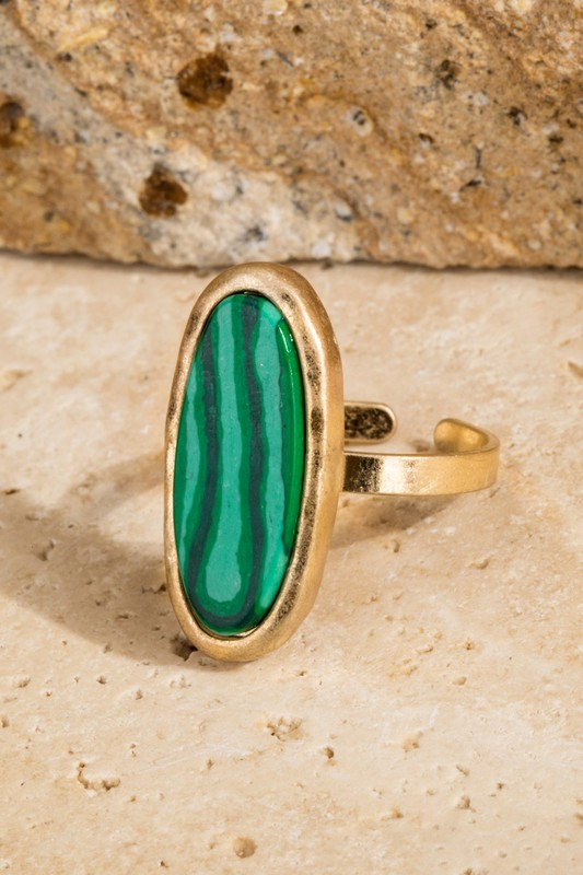 All Oval You Stone Ring - Malachite