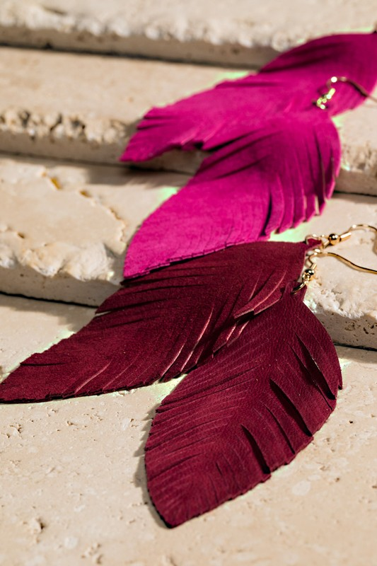 Leather Leaf Earrings - Burgundy