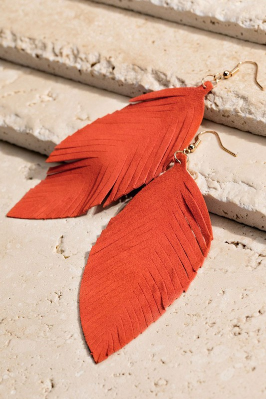 Leather Leaf Earrings - Rust