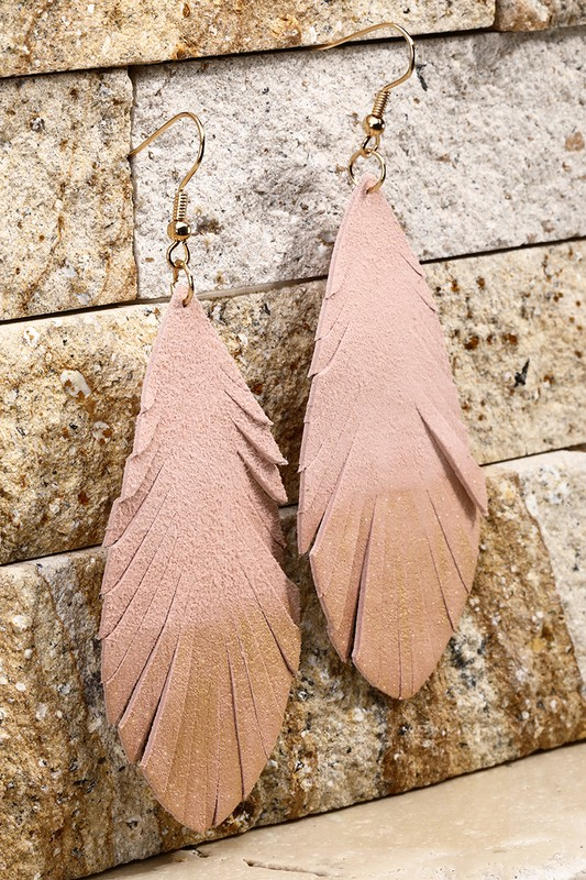 Leather Leaf Earrings With Gold Glitter - Pink