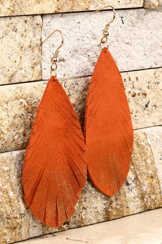 Leather Leaf Earrings With Gold Glitter - Tangerine