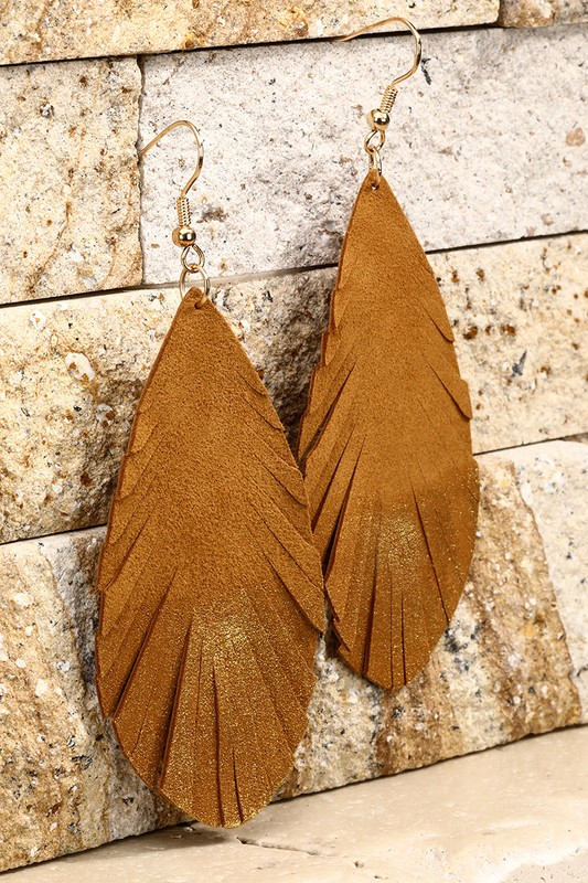 Leather Leaf Earrings With Gold Glitter - Light Brown