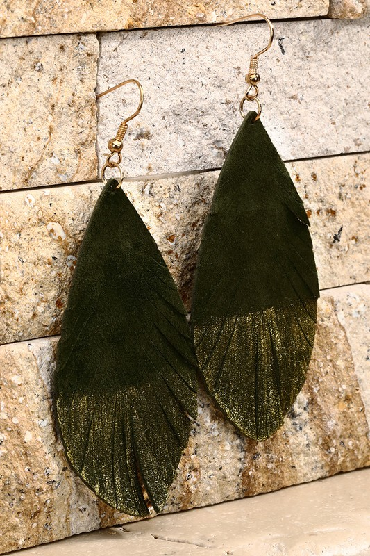 Leather Leaf Earrings With Gold Glitter - Olive