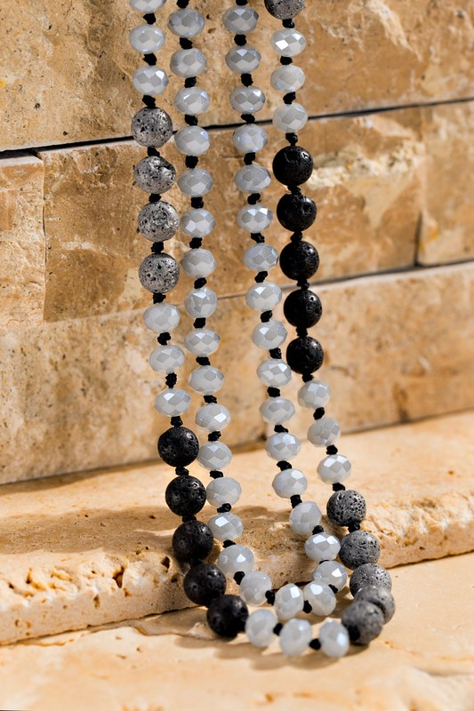 Faceted Long Beaded Necklace - Grey