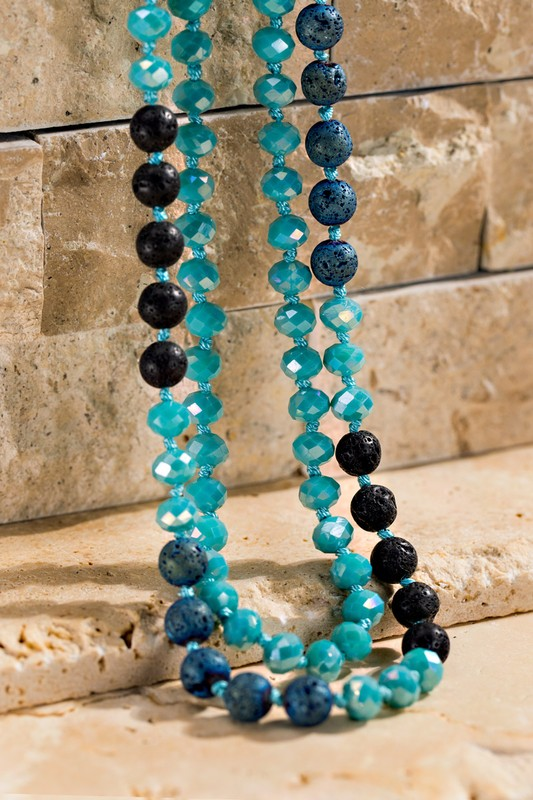 Faceted Long Beaded Necklace - Turquoise