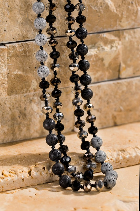 Faceted Long Beaded Necklace - Black