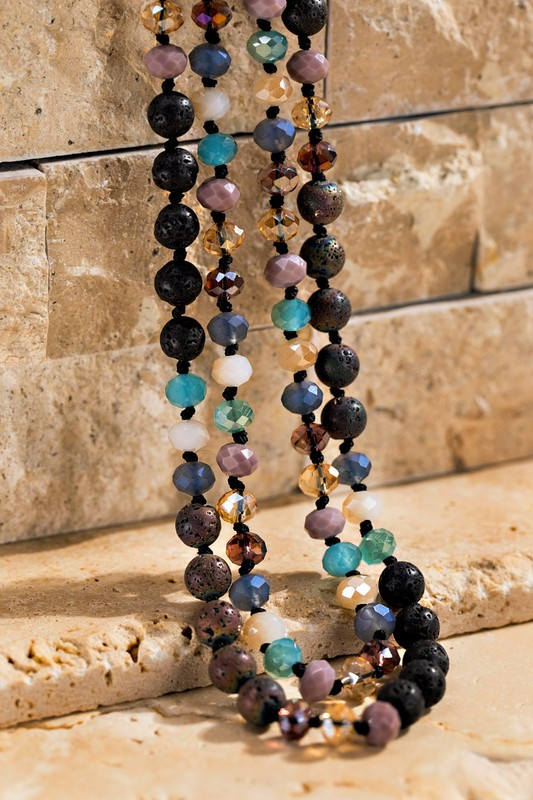 Faceted Long Beaded Necklace - Multi