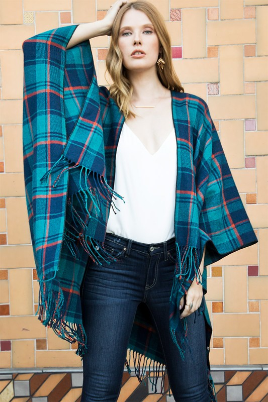 Aren't You Stunning Teal Plaid Ruana
