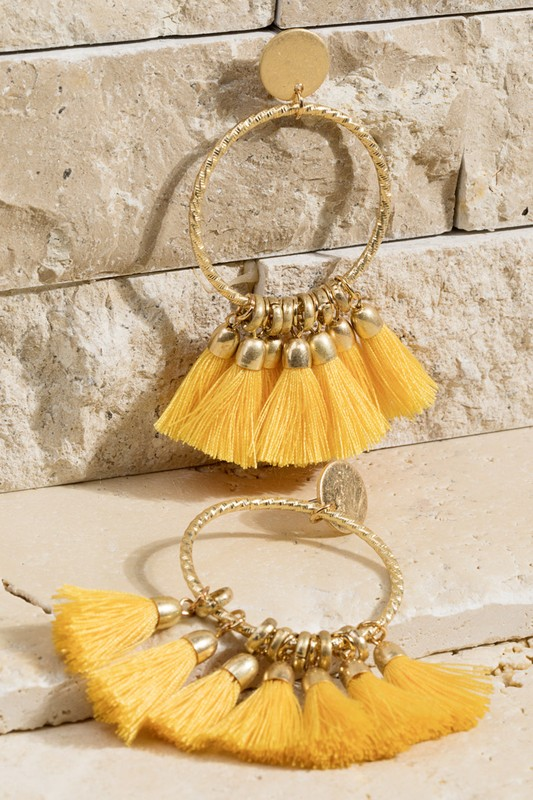 7 Tassel Earrings - Mustard