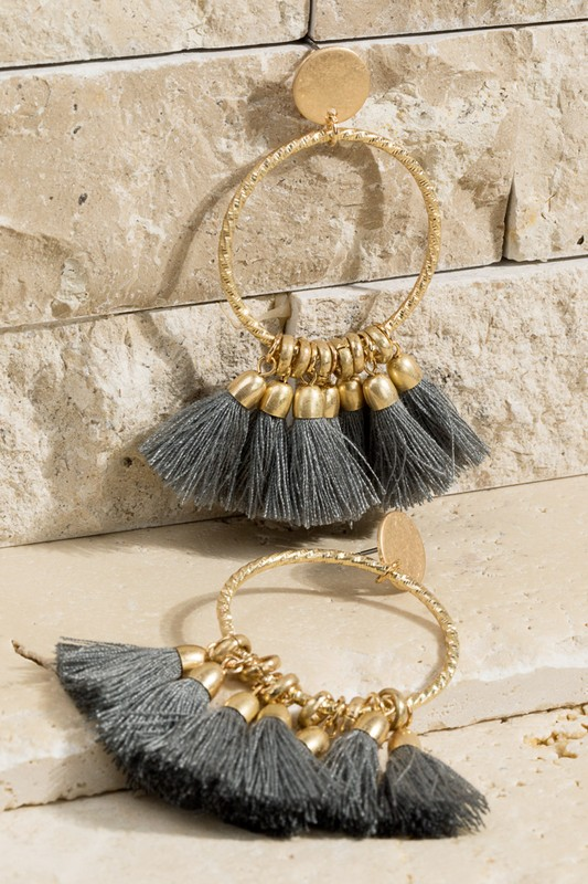 7 Tassel Earrings - Dark Grey