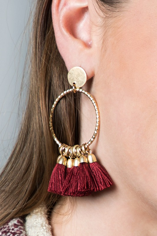 7 Tassel Earrings - Burgundy