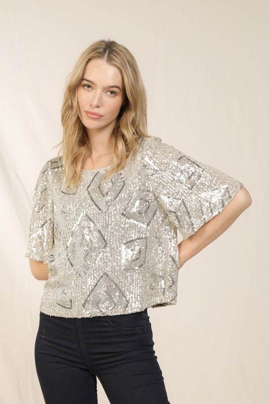 Champagne and Diamonds Sequin Top