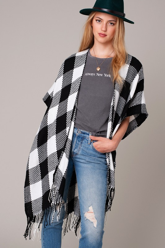 Buffalo Plaid Kimono - Black and White