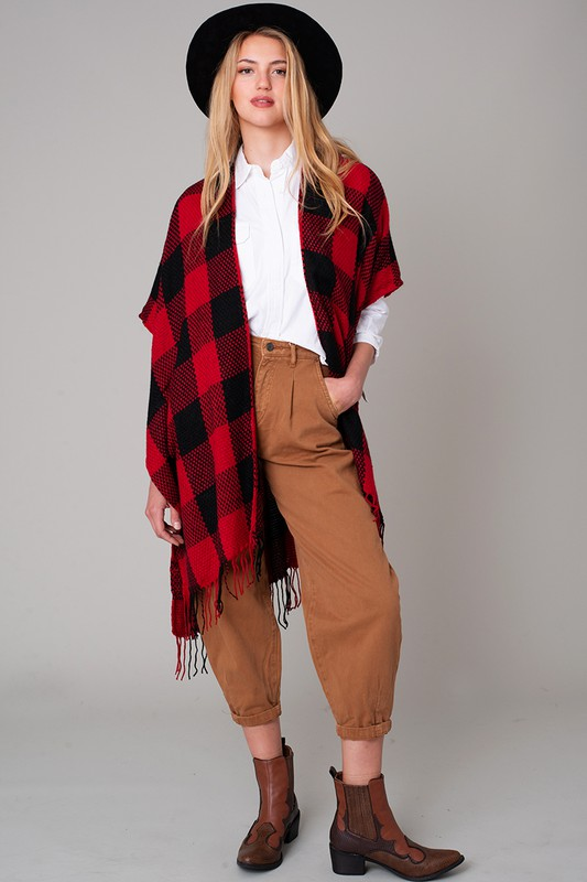 Buffalo Plaid Kimono - Black and Red