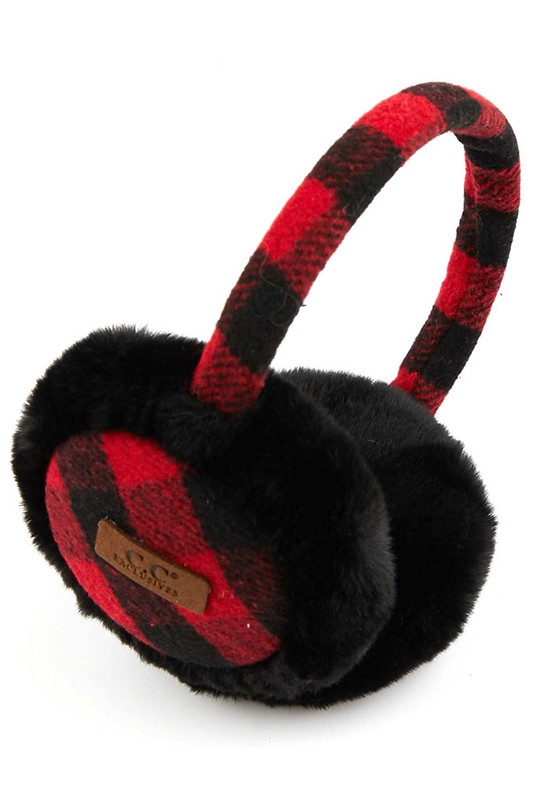 CC Exclusives Buffalo Check Earmuffs - Red and Black
