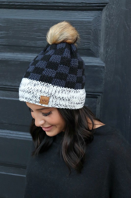 Panache Grey and Black Buffalo Plaid Knit Beanie
