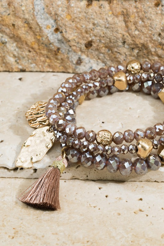 Charms and Tassel Bracelet Set - Taupe