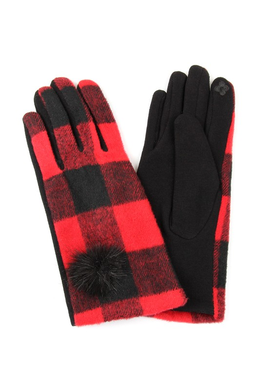 Buffalo Check Smart Touch Gloves - Red