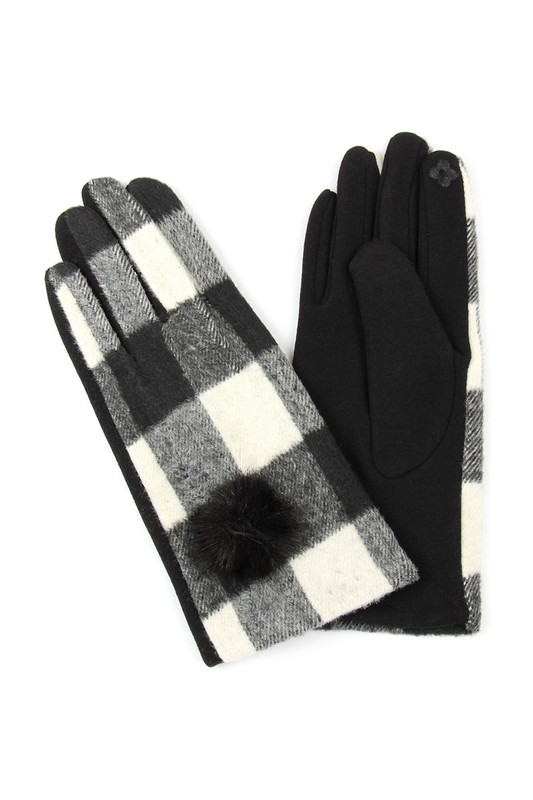Buffalo Check Smart Touch Gloves - White