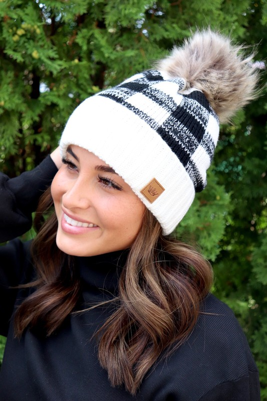 Panache Black and White Buffalo Plaid Knit Beanie