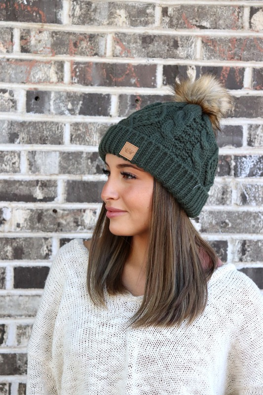 Panache Olive Cable Knit Beanie
