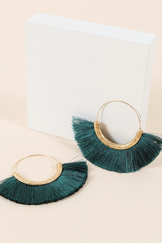 Fringed Fan Tassel Earrings - Teal
