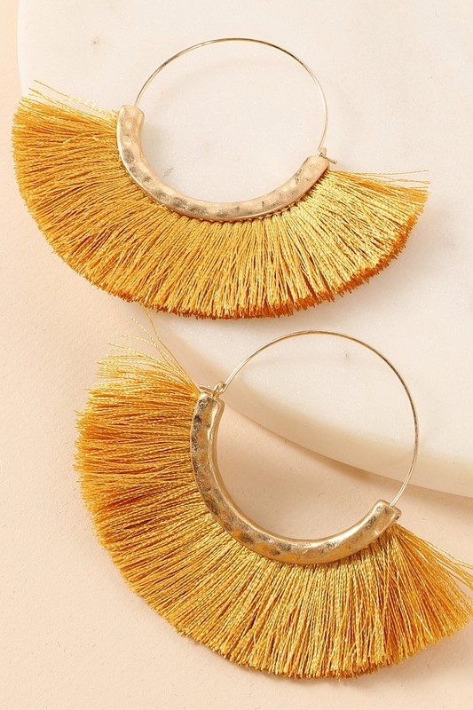 Fringed Fan Tassel Earrings - Mustard