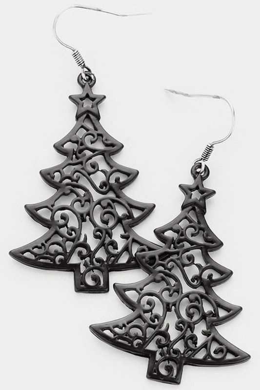 Black Christmas Tree Earrings