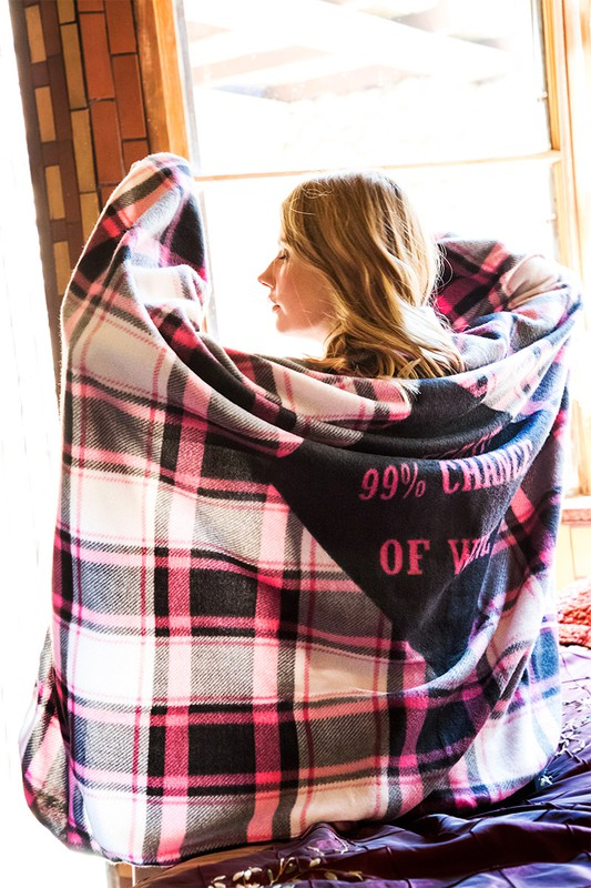 Cozy Plaid Print Blanket - Forecast  99% Chance of Wine