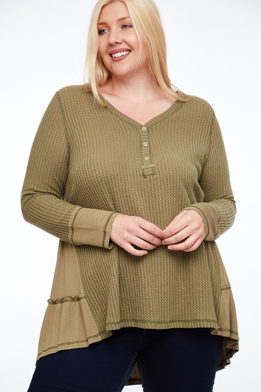 Plus Size Spirit and Style Olive Knit Top